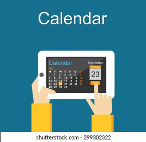 Calendar application on mobile phone. Reminder concept. Add agenda on calendar application.