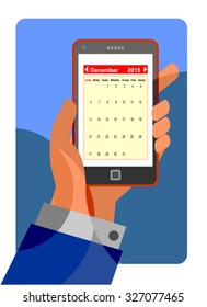Calendar application on mobile phone. Reminder and schedule concept.