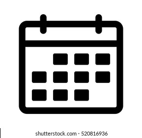 Calendar or appointment schedule line art vector icon for apps and websites