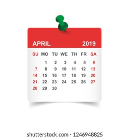 Calendar april 2019 year in paper sticker with pin. Calendar planner design template. Agenda april monthly reminder. Business vector illustration.