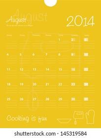 Calendar, august 2014. Vector.