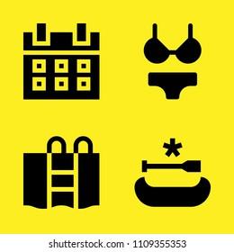 calendar, canoe, bikini and swimming pool vector icon set. Sample icons set for web and graphic design