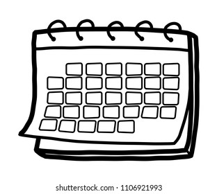 calendar/ cartoon vector and illustration, black and white, hand drawn, sketch style, isolated on white background.