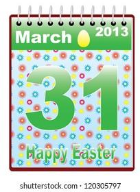 calendar with catholic Easter Sunday date vector illustration