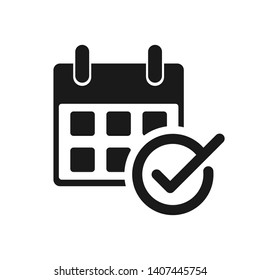 Calendar with check mark. Event planner icon. Meeting schedule icon. Appointment date symbol illustration.