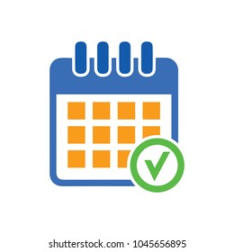 calendar checkmark icon, vector event symbol, day or month icon