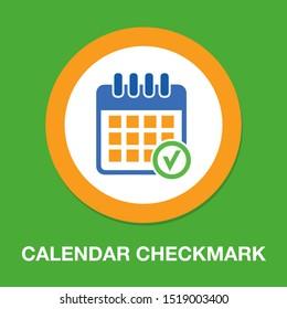 calendar checkmark icon, vector event symbol, day or month icon