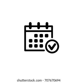 calendar, checkmark, vector icon