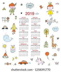 Calendar for children with funny doodles, kids, animals, cute elements. Vector graphic illustration