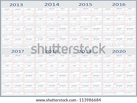 Calendar 2013-2020 Calendar Classic Templates Years 2013 2020 Stock Vector (Royalty