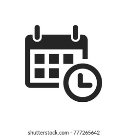 Calendar and clock icon. Date and time symbol. Event pictogram, flat vector sign isolated on white background. Simple vector illustration for graphic and web design.