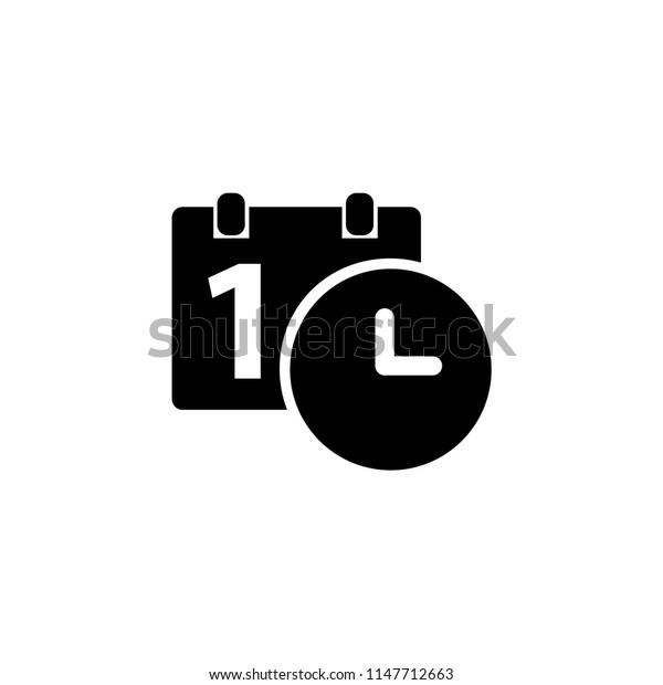 Calendar and clock icon. Date and time symbol.