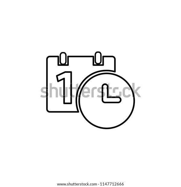 Calendar and clock icon. Date and time symbol. Event pictogram, flat vector sign isolated on white background.
