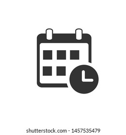 Calendar with a clock icon, graphic design
