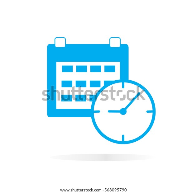 calendar and clock  icon on white background. calendar clock sign.