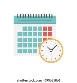 Calendar and clock icon. Schedule, appointment, important date, time management concept. Can use for info graphics, print media, websites and mobile apps. Vector illustration