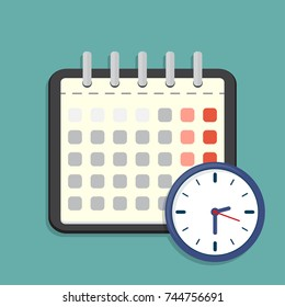 Calendar and clock icon. Schedule, appointment. Vector Illustration