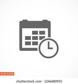 calendar & clock icon. Vector  Eps 10