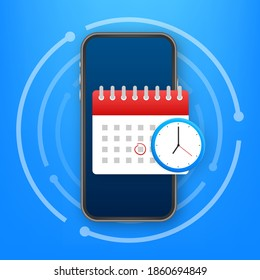Calendar and clock icon. Wall calendar. Important, schedule, appointment date. Vector stock illustration.