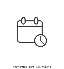 Calendar with Clock line icon. Agenda, reminder linear style sign for mobile concept and web design. Calendar time outline vector icon. Symbol, logo illustration. Vector graphics