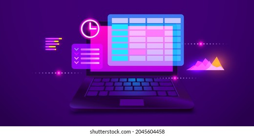 Calendar and clock on laptop screen. Schedule concepts. Modern futuristic design graphic elements. Vector illustration
