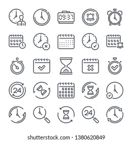 Calendar and Clock related line icon set. Time and date linear icons. Countdown and timer outline vector sign collection.
