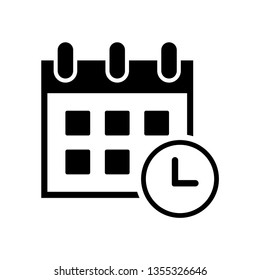 calendar and clock time, date, event, deadline, agenda icon