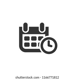 Calendar with a clock vector icon