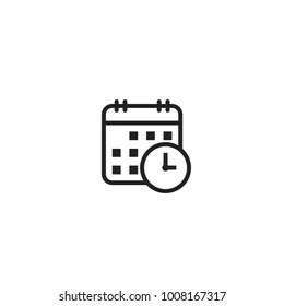 Calendar with clock. Vector line icon