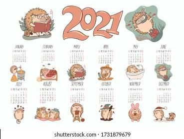 Calendar of cute kawaii hedgehogs 2021. Vector graphics.