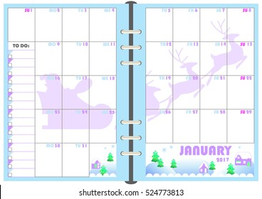 calendar daily planner template monthly january stock vector