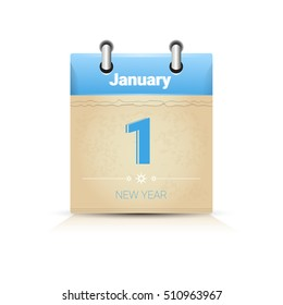 Calendar Data Page New Year 1 January Flat Vector Illustration