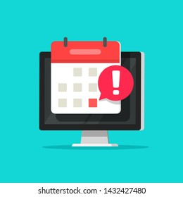 Calendar date alarm as deadline notification on computer screen vector symbol, flat cartoon event reminder scheduled on agenda icon isolated