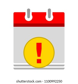 calendar date with attention info icon - business event sign, reminder icon