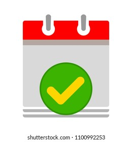 calendar date choose ok accept check mark icon - business office event sign, reminder icon
