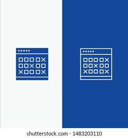 Calendar, Date, Event, Events, Month, Schedule, Timetable Line and Glyph Solid icon Blue banner Line and Glyph Solid icon Blue banner