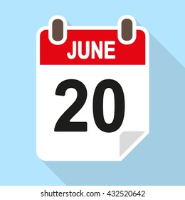 Calendar date vector icon, flat style with shadow, June 20th