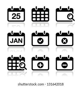 Calendar date vector icons set