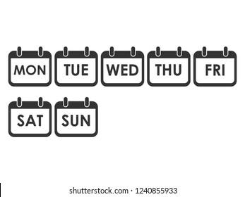 Calendar day icon set. Week day icon set. Vector illustration, flat design.
