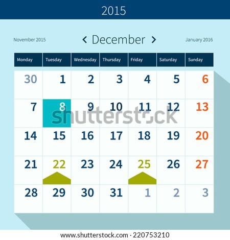 Calendar December 2015 Vector Design Template Stock Vector Royalty