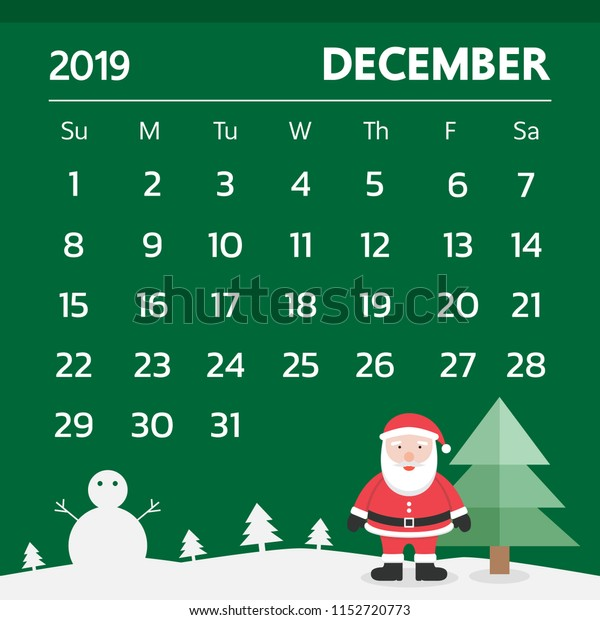 Christmas Theme Calendar December 2019 Calendar December 2019 Christmas Theme Stock Vector (Royalty Free