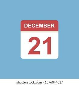 calendar - December 21 icon illustration isolated vector sign symbol