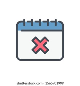 Calendar with decline cross color line icon. Data reminder with X vector outline colorful sign.