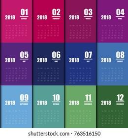 Calendar Design for 2018 Minimal Simple Vector Template. Starts Monday.