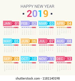 Calendar design for 2019. Set of 12 months on bright background. Week starts on monday. Vector design print template.