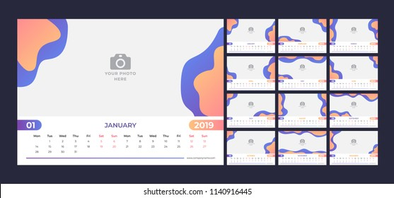 Calendar design for 2019. Simple blue and orange background. Week starts on Monday. Set of 12 calendar pages vector design print template with place for photo.