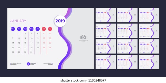 Calendar design for 2019. Simple purple background. Week starts on Monday. Set of 12 calendar pages. Vector design print template with place for photo.