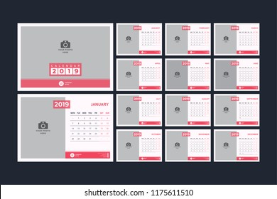 Calendar design for 2019. Simple red color. Week starts on Monday. Set of 12 calendar pages vector design print template with place for photo.