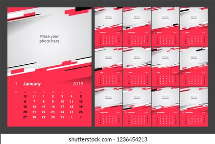 Calendar design for 2019. Week starts on Sunday. Set of 12 calendar pages vector design print template with place for photo.