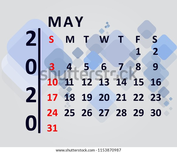 Calendar Design 2020 May Stock Vector (Royalty Free) 1153870987